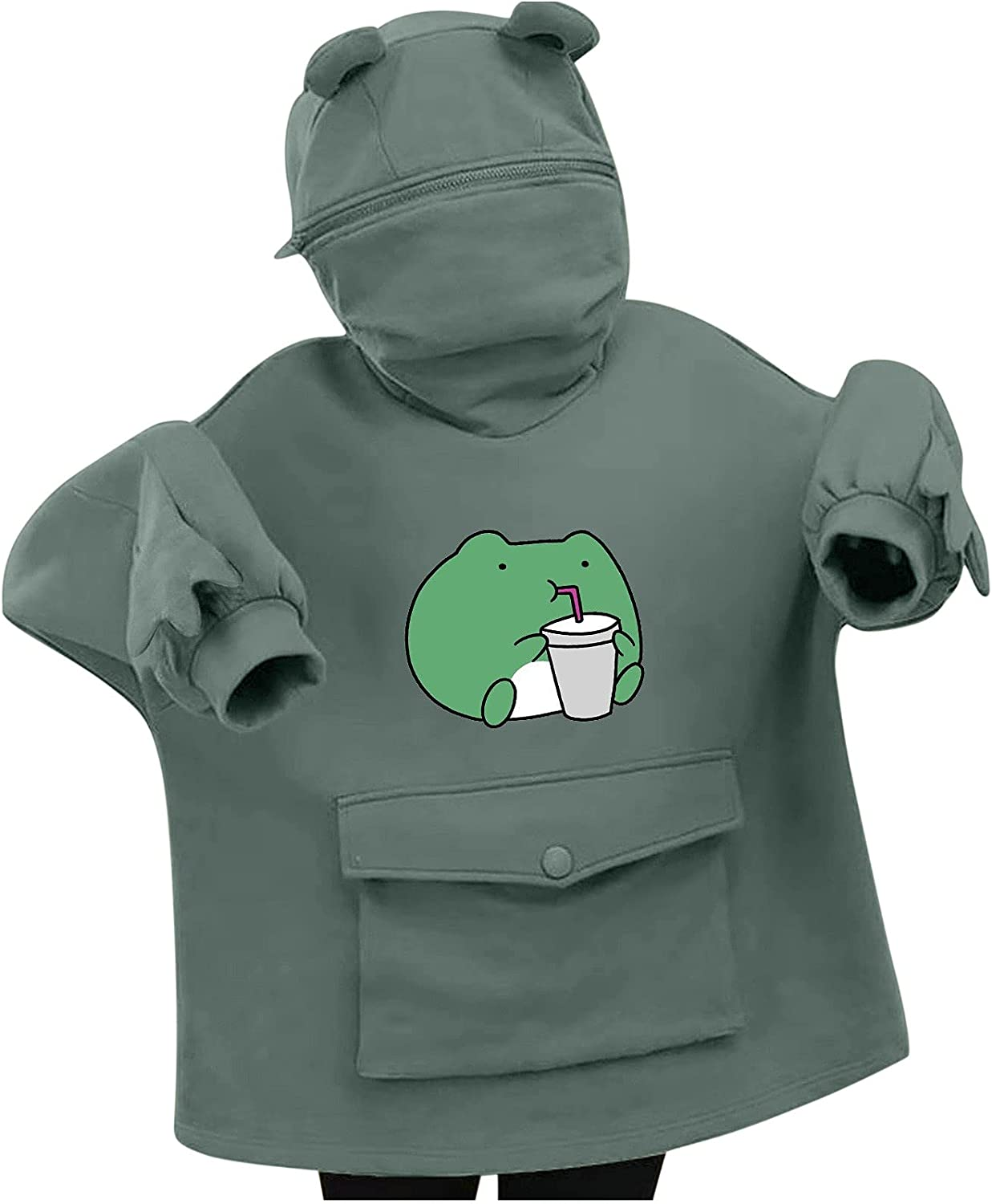 BOXIACEY Long Sleeve Hoodies with Large Front Pocket Solid Color Sweatshirts for Women Cute Frog Hoodie Pullover