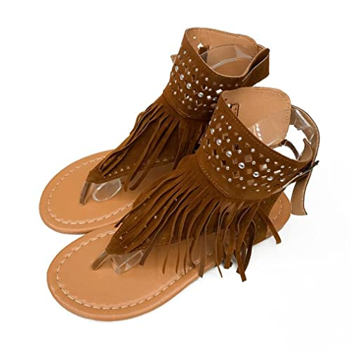 be664c888277 Qisc Womens Suede Tassels Thong Flat Sandals Flip Flops Fringe Shoes for  Summer