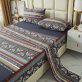FADFAY Boho Black Sheets California King 100% Cotton 600 TC Super Soft Aztec Bedding Luxury Brown Teal Tribal Geometric Modern Bed Sheet Royal Paisley Printed Deep Pocket Fitted Sheet 17.5'' 4 Piece