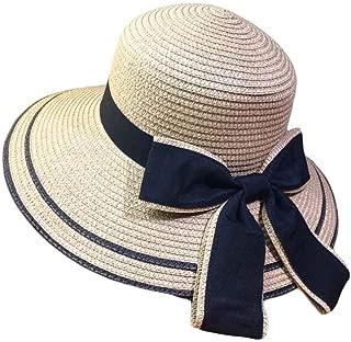Women Sun Hats Wide Brim Straw Hats Foldable Bucket Hat Beach Hat Bowtie Ribbon