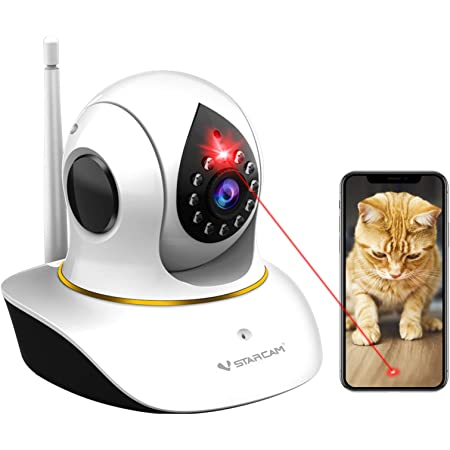 Pet Camera, Cat Camera with Laser Wireless Cat Camera 1080P Cat Toys, Night Vision Sound Motion Alerts, APP Remote Control Home Security Camera for Pet & Baby