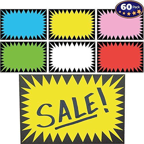 Retail Genius Price Burst 60 Sign Pack. Boost Sales with Bright Display Tags. Durable, Easy to Write On Star Cards Are Great for Yard, Estate & Garage Sale, Fundraiser, Store, Business & Flea Market.