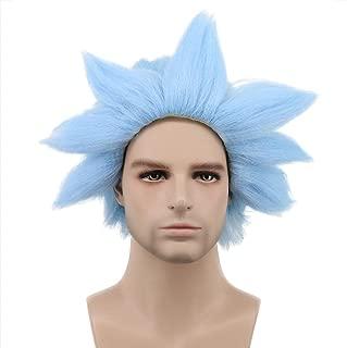 Karlery Men Women Short Straight Blue Wig Halloween Costume Wig Anime Cosplay Wig