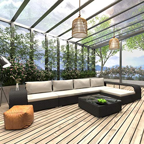 WWZH 8 Pieces Outdoor Patio Furniture Sets Rattan Chair Wicker Conversation Sofa Set Set with Cushions,inclue 4 Back Pillow, 1 Ottoman, 1 Coffee Table, 2 Sidetable