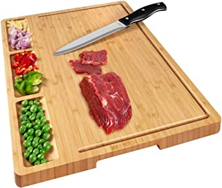 HHXRISE Large Organic Bamboo Cutting Board For Kitchen With Tray, With 3 Built-In Compartments And Juice Grooves, Heavy Duty Chopping Board Serving Tray, Butcher Block, Carving Board, BPA Free