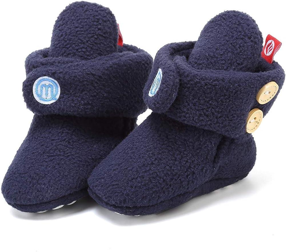 Baby Newborn Cozy Fleece Booties with Non Skid Bottom