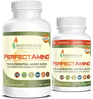 BodyHealth PerfectAmino Tablets (150ct Plus 30ct Travel Bottle), All 8 Essential Amino Acids with BCAAs + Lysine, Phenylal...