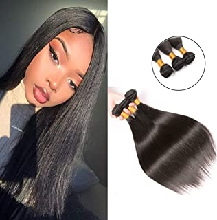 Brazilian Hair Weave 3 Bundles Short Straight Hair Silky 10a Unprocessed Virgin Hair Weft Extensions Natural Color 10 12 14 Inches for Full Head