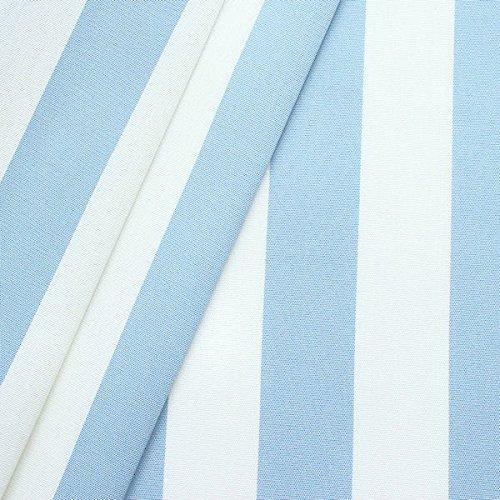 Markisenstoff Outdoorstoff Streifen Breite 160cm Meterware Hell-Blau Weiss