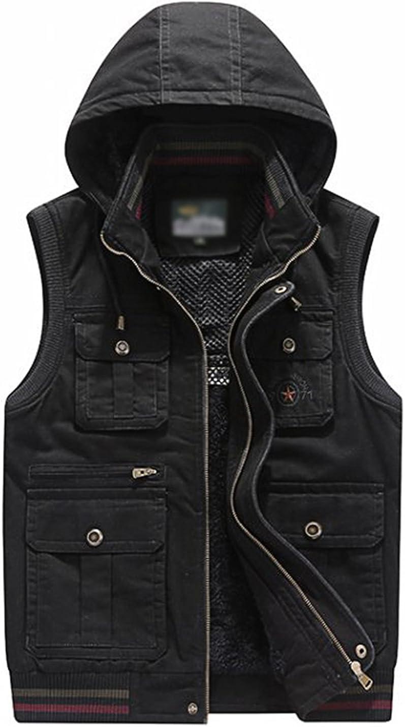 Gihuo Men's Winter Thick Fleeced Multi-Pocket Outdoor Hooded Travel Vest