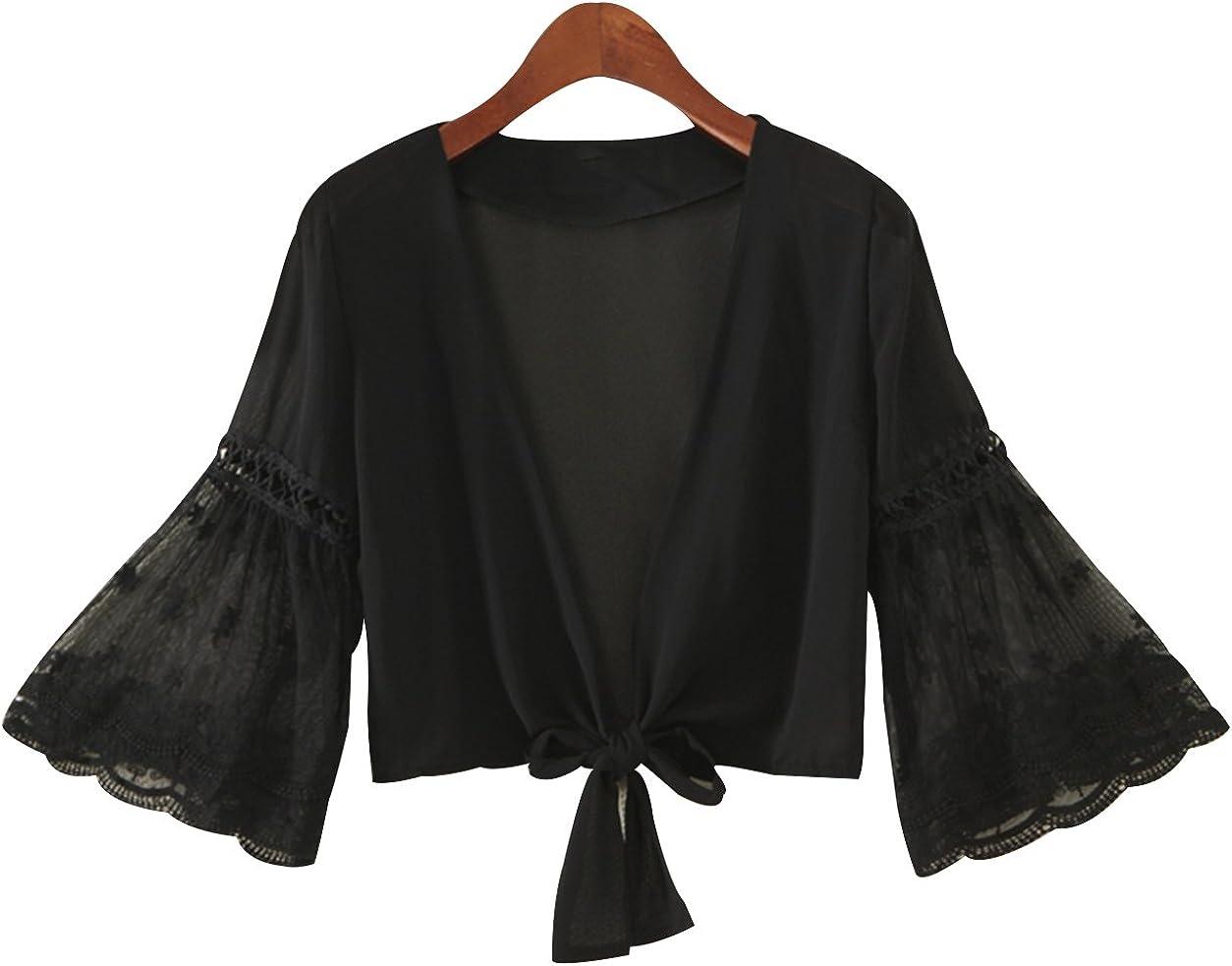 Trendy XU Women/Girl Summer Long Flare Sleeve Solid Open Cardigan Tied Crop Sunscreen Shrug Bolero