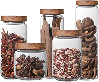 ZXX. Pot de Rangement en Verre avec couvercles en Bois, 5pcs contenants de Cuisine Pot en Verre borosilicaté élevé, pour S...