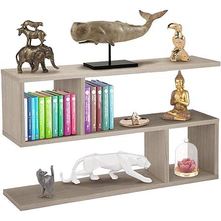 Bakaji Librería Baja estantería de 5 estantes de Madera melamínica, diseño Moderno para salón, salón, casa u Oficina, tamaño 80 x 20 x 50,5 cm (Beige)