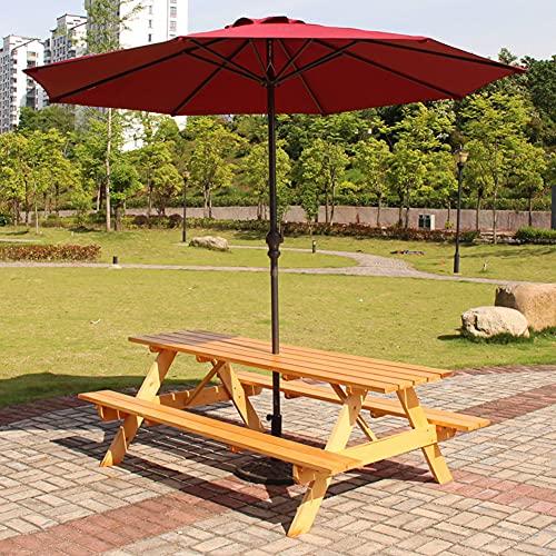 ACXZ Sombrilla de Patio Grande de 270 cm al Aire Libre Sombrilla de jardín Sombrilla de Playa, toldo Redondo/Impermeable/Poste de Hierro, Rojo Vino/Verde Oscuro, sin Base