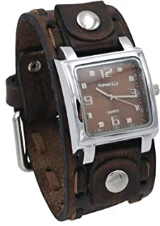 Nemesis VSBB516B Men's Faded Stitched Brown Wide Leather Band Brown Dial Watch