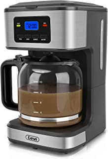 Coffee Maker, 12 Cups Programmable Drip Coffee Maker with Coffee Pot, Anti-Drip Design, 1.8 Liter Glass Carafe