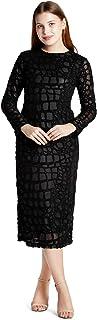 EMMYROBE Women's Long Sleeve Midi Dress in Black