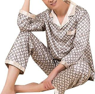 Fly Year-JP メンズラグジュアリーシルクパジャマは、ズボンのズボンの上にストライプのサテンボタンを設定