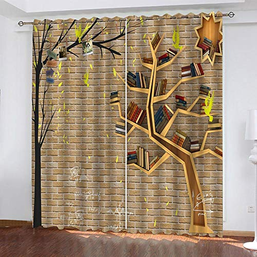 KAOLWY The Curtains, 140 x 160 cm, Man Abstract Tree, Blackout and Thermal Insulating Curtains for Windows/Panels/Curtains for Bedroom 2 Panels