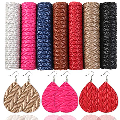 Ther Bow Making Fabric 6-20pcs/set A5 1521cm Rainbow Lychee Glitter Synthetic Leather Set DIY Bow Earring Material Faux Leather Bag Phone Case Leather Sheets for Crafting (Color : 7pcsset)