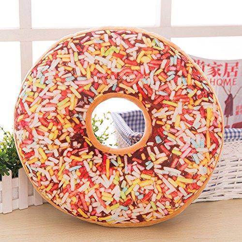 Allence Kissenbezug Cojín decorativo con donuts de algodón y polipropileno, cojín decorativo de espuma relleno, juguete, multicolor, chocolate