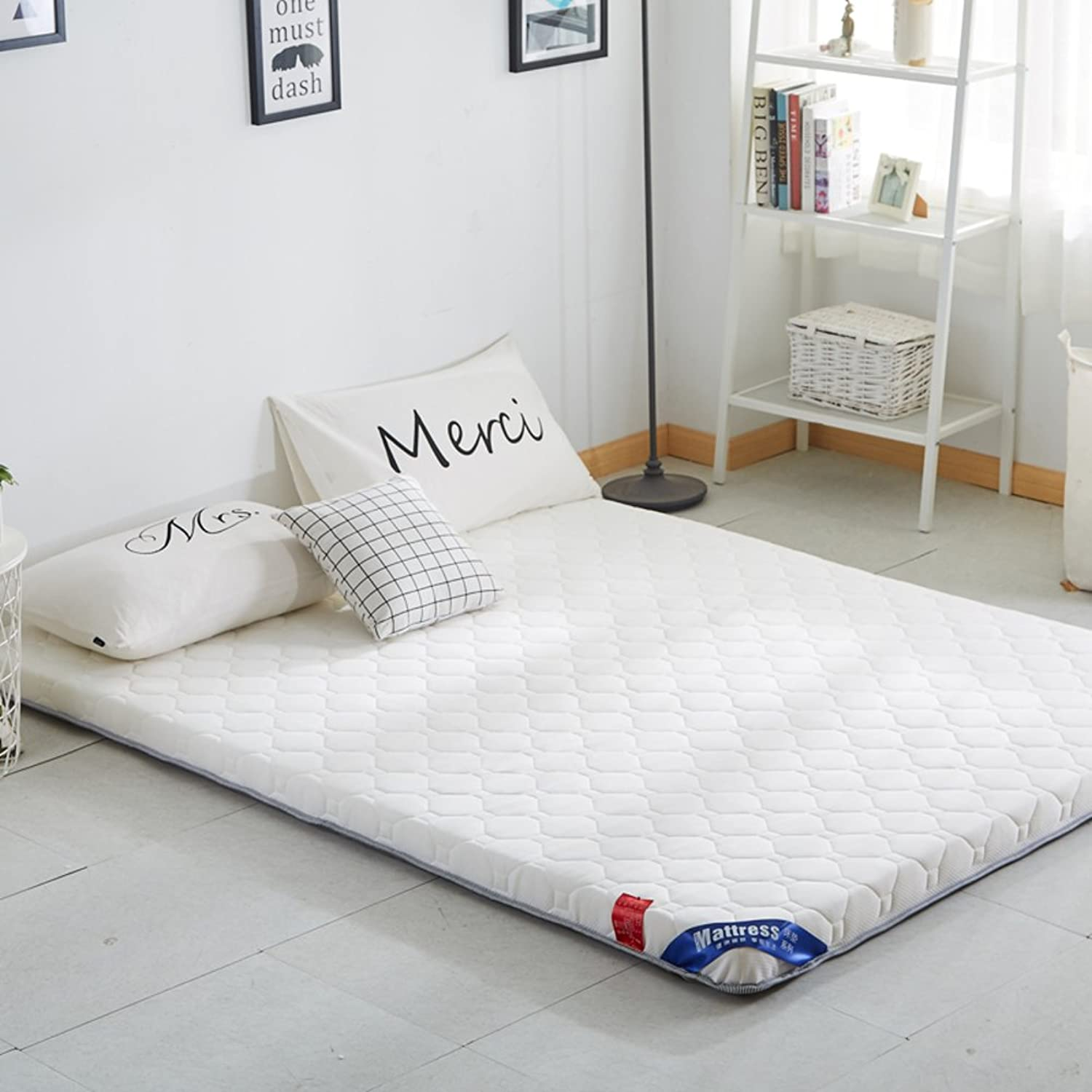 Tatami Floor mat, Double Mattress Dorm futon Mattress Topper Quilted Foldable Cushion mats Non-Slip Bed Predection pad-A 100x200cm(39x79inch)