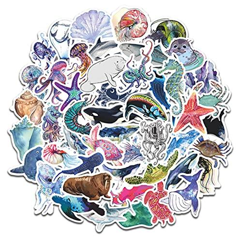 GSNY Pegatinas de Dibujos Animados Bonitos de Animales Marinos, Maleta, Nevera, portátil, Taza de Agua, decoración de Coche, Pegatinas Impermeables, 50 Hojas