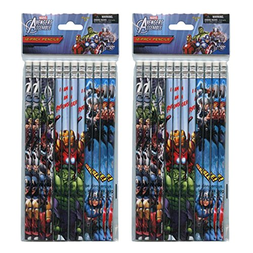2-PACK, Marvel Avengers 12 Pack Wood Pencils