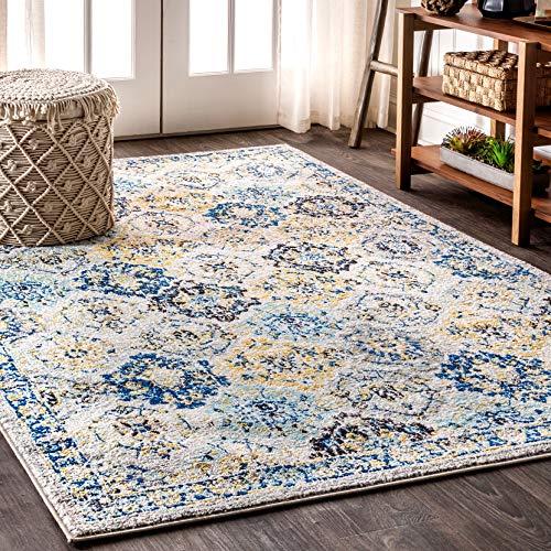 JONATHAN Y Modern Persian Boho Vintage Trellis Blue/Multi 8 ft. x 10 ft. Area Rug, Bohemian, Easy Cleaning, For Bedroom, Kitchen, Living Room, Non Shedding