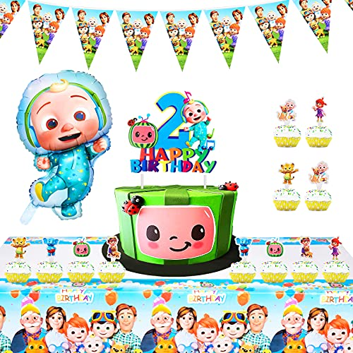 Cocomel Birthday Party Supplies for Kids, Cake Toppers, Birthday Banner, Cake Toppers, Tablecloth, JJ Balloons for Second Birthday