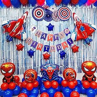 لوازم حفلات أعياد الميلاد سبايدر مان وديكورات حفلات أعياد الميلاد بتصميم البطل الخارق تتضمن 85 قطعة مع مضخة هواء مجانية وشريط
