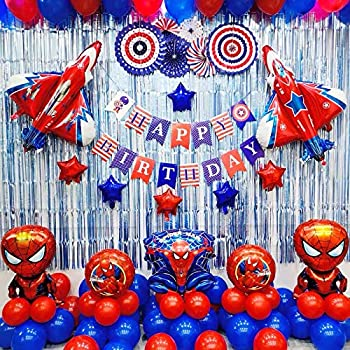 Spiderman Birthday party supplies Spiderman Birthday Party Decorations Superhero Theme Balloons set included 85 Pcs with free Air Pump and Tape
