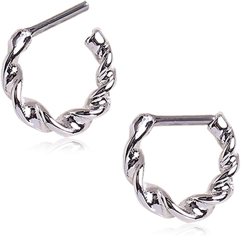 WildKlass Jewelry Septum Clicker Ring Twisted 316L Surgical Steel 16G 1/4