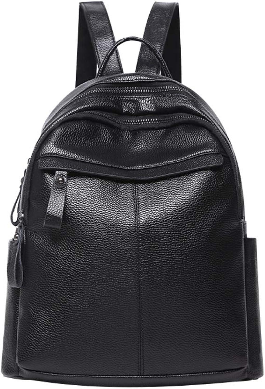 Soft Leather Backpack,Traveling Backpack Student BagBlack