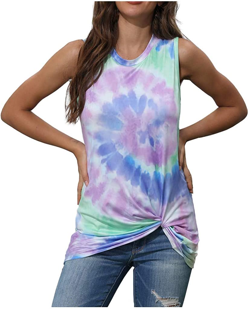 Weginte Women T Shirts Casual Summer Sleeveless Tie-Dye Gradient Print Plus Size Loose Tank Tops Tees Blouses T-Shirt