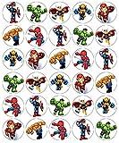 30 obleas comestibles de papel de oblea de superhéroes de Marvel para tartas de cumpleaños