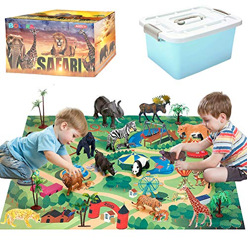 Safari Animals Figurines Toys with Activity Play Mat & Trees  Realistic Plastic Jungle Wild Zoo Animals Figures Playset with Elephant  Giraffe  Lion  Gorilla for Kids  Boys & Girls  22 Piece