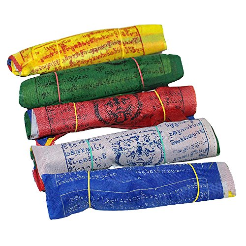 Maha Bodhi Tibetan Wind Horse Lungta Prayer Flags - 5 Vibrant Color Sets 6 x 6 Inches- Pack of 50