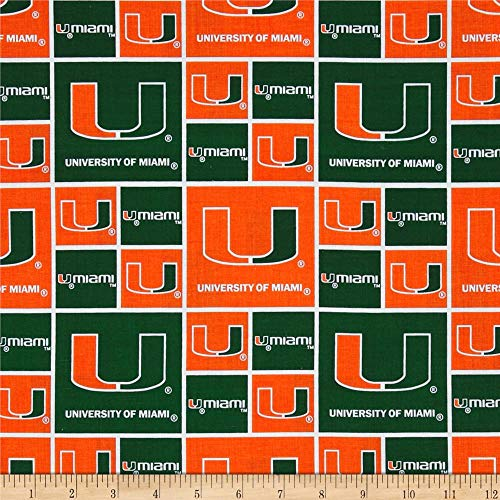 NCAA Miami Hurricanes Collegiate Green/Orange, Quilting Fabric by the Yard
