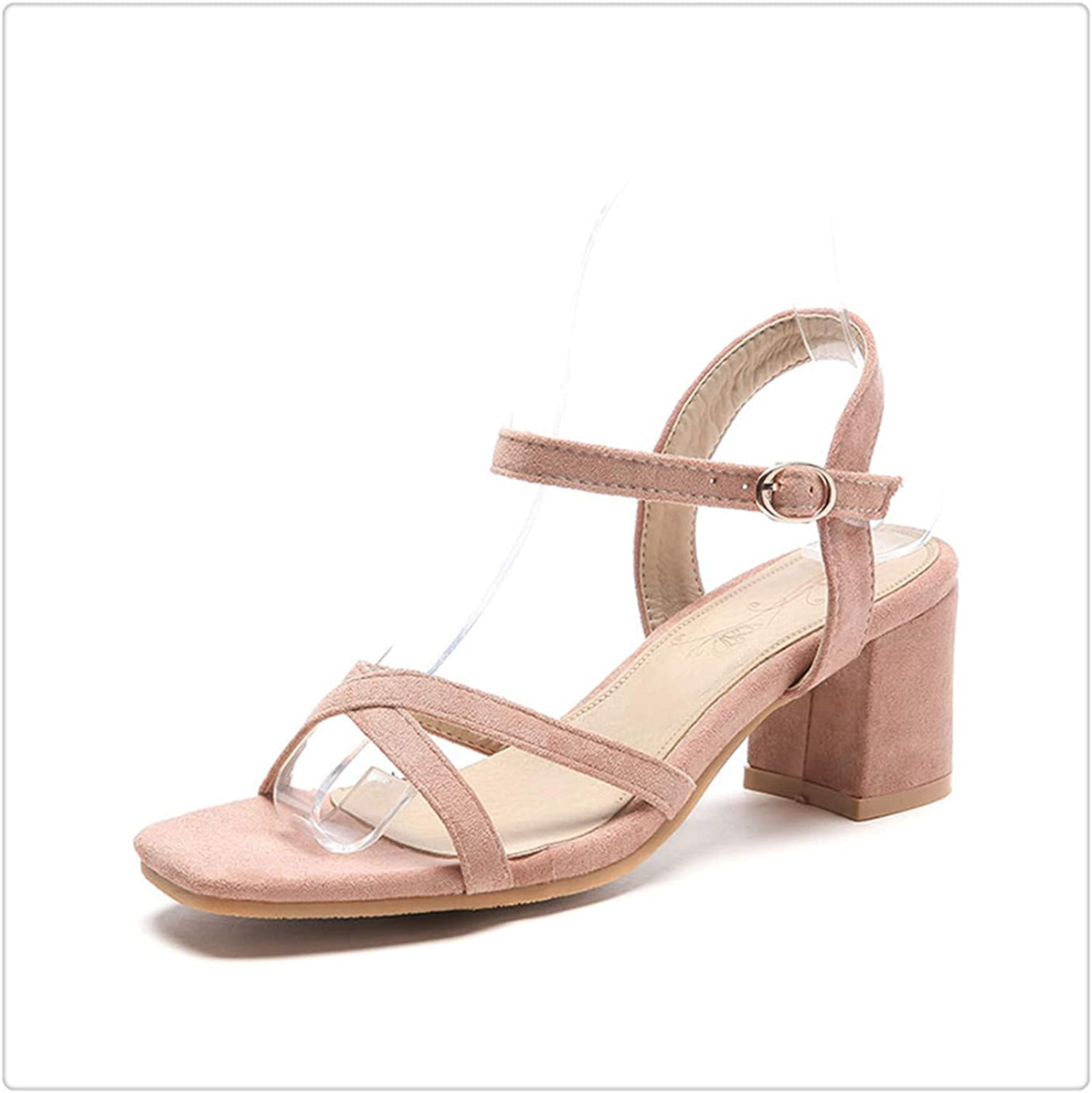 Yyixianma Plus Size Concise Ankle-Strap shoes Women Sandals Fashion Square High Heels OL