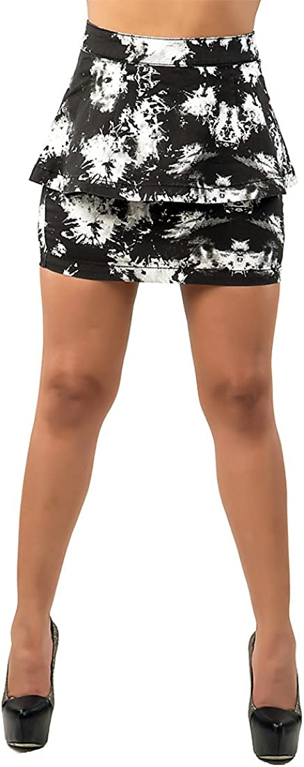 Poetic Justice Curvy Womens Stretch Twill Black White Floral Print Peplum Skirts