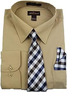 Alberto Danelli Men's Long Sleeve Dress Shirt with Matching Tie and Handkerchie Set
