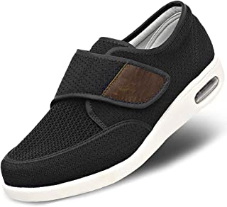 Mens Diabetic Edema Shoes Lightweight Walking Mesh Breathable Wide Sneakers Strap Adjustable Easy On and Off for Elderly, Swollen Feet, Plantar Fasciitis