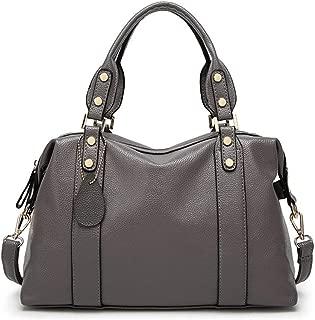 Fine Bag/Mommy Handbag Large Capacity PU Material Lychee Crossbody Bag Side Hemming Design Shoulder Bag Multi-Pocket Capacity (Color : Gray, Size : 12.99 * 5.11 * 9.05in)