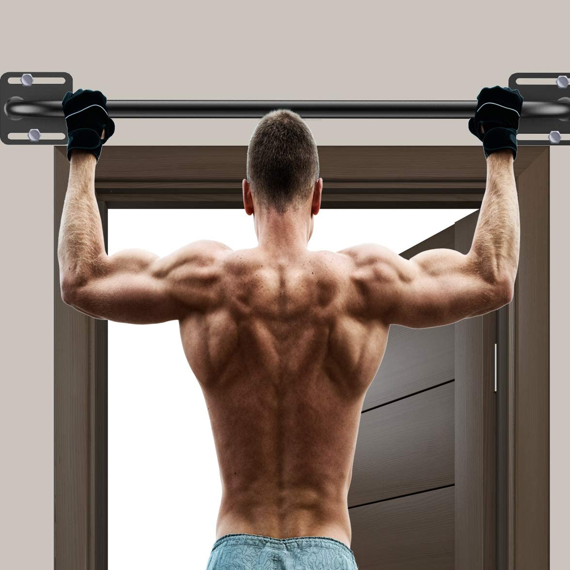 """OUUO Heavy Duty Wall Mounted Pull Up Bar for Doorway - Fully Welded Construction Strength Training Pull-Up Bars, 1.25-Inch Durable Steel Tubing - Over Door Pull Up Bar with 4.8"""" Wall to Bar Spacing : Sports & Outdoors"""