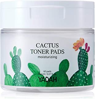 Yadah Cactus Toner Pads 5.07 Fluid Ounce 60 Count, Cruelty Free Facial Cleansing Exfoliator Toning Hydrating Treatment Wipes for Clear Pores Acne Prone Oily Dry Sensitive Skin