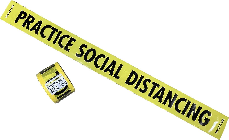 Premium Yellow PRACTICE SOCIAL DISTANCING Tape • 3 inch x 2