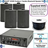 4x Black Outdoor Speaker Bluetooth System Kit | SMART HOME ECHO DOT ALEXA SPOTIFY | Outside Background Audio Weatherproof Waterproof External | Wireless Music Player HiFi For Garden BBQ Parties, Pub