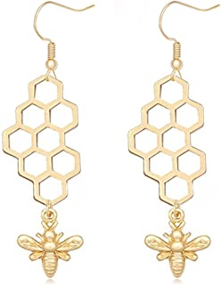 Natural Gold Silver Honeycomb Bee Dangle Earrings