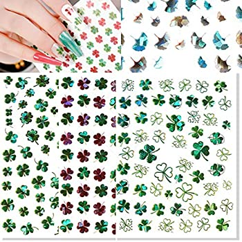 3D Shamrock Nail Art Stickers Lucky Clover Nail Decals Laser St.Patrick s Day Ginkgo Leaf Flowers Spring Design Nail Art Supplies Self Adhesive Nail Stickers for Acrylic Nail Decorations 9 Sheets